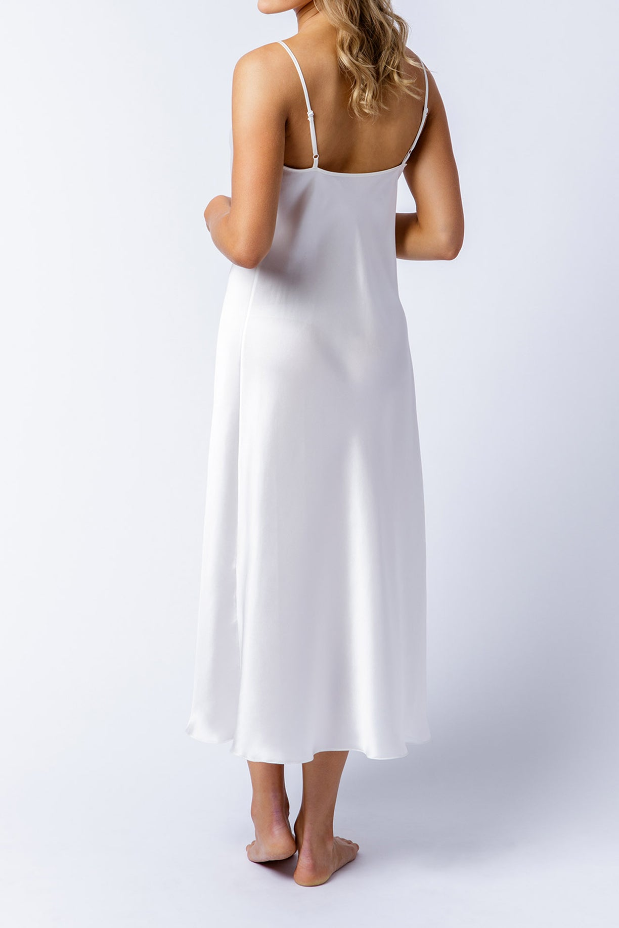 Rosetta slip dress in alabaster, back