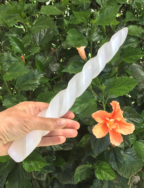 Large a Unicorn Horn Hand Carved Selenite Wand