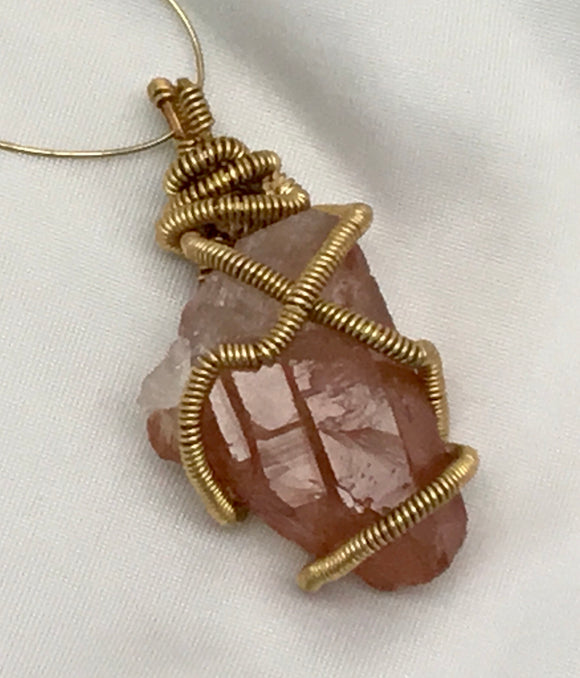 Elestial Self Healed Tangerine Quartz Wire Wrapped Pendant