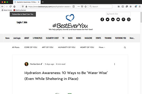 Hydration Awareness: 10 Ways to Be 'Water Wise' (Even While Sheltering in Place)