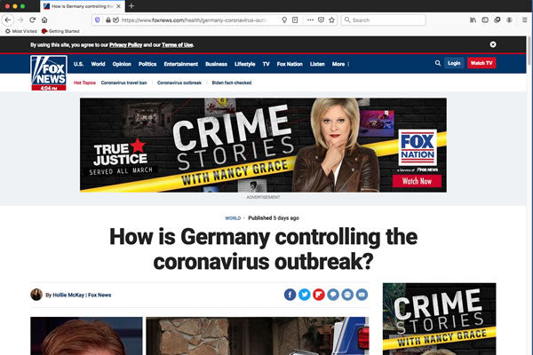 How is Germany controlling the coronavirus outbreak?