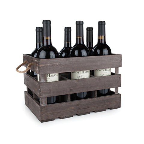 Rustic Farmhouse™ Wooden 6 Bottle Crate by Twine