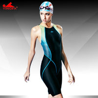 Yingfa FINA approved racing swimsuit for professional competition | knee length waterproof chlorine resistant women's swimwear sharkskin