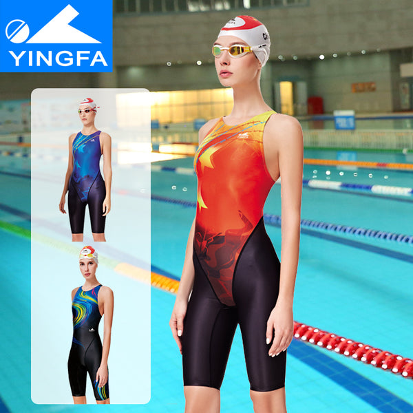 Yingfa 2017 new Professional Women Swimsuit One Piece Swimwear  Racing Competition Tights girls competition knee swimsuit