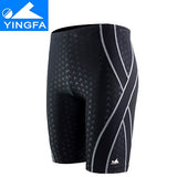 Yingfa sharkskin boys men's long racing swimming jammers swim trunks shorts men swimwear plus size Free shipping!!
