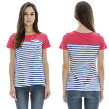 Color Block and Stripes T-shirt for Pregnant or Nursing Mom