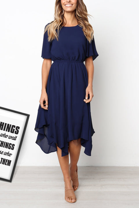 Venidress Daily Round Neck Flared Sleeves Mid Calf Dress