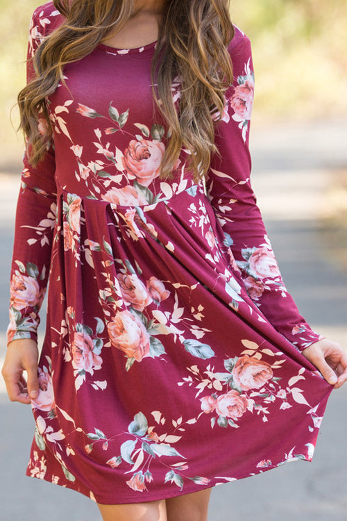 Venidress Floral Theme Long Sleeves Mini Dress