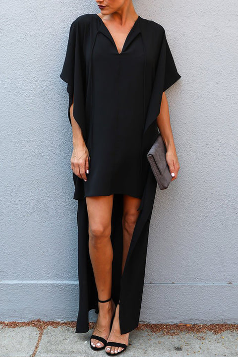 Venidress Stylish V Neck Half Sleeves Asymmetrical Black Blending Ankle Length Dress
