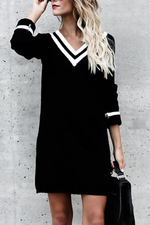 Venidress Leisure V Neck Long Sleeves Patchwork Black Pullovers