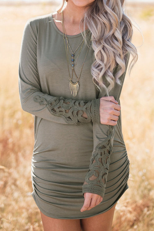 Stylish Lace Sleeve Design Army Green Mini Dress