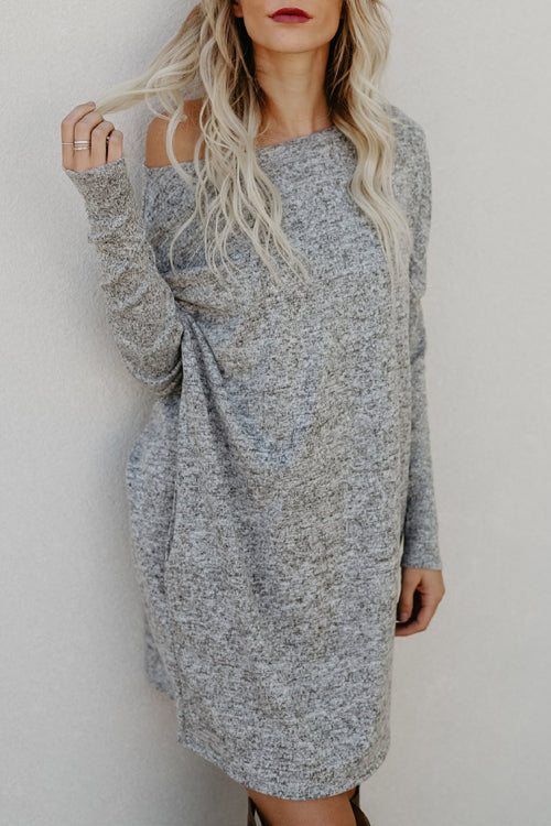 Venidress Casual Dew Shoulder Long Sleeve Dresses
