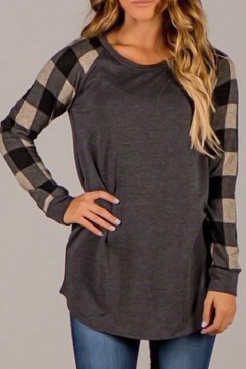 Venidress Round Neck Patchwork Plaid T-shirt