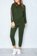 Casual Round Neck Striped Patchwork Green Two-piece Pants Set