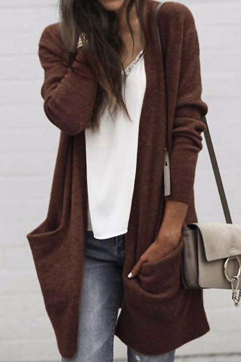 Venidress Casual Long Sleeve Pockets Cardigan