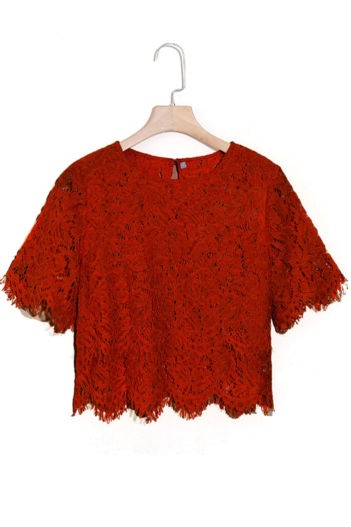 Venidress Half Sleeves Lace Hollow-out Shirts