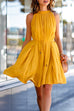 Venidress Casual Round Neck Belted Yellow Blending Mini Pleated Dress