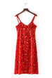 Venidress Casual U neck Printed Red Cotton Blends Mid Calf Dress