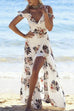 Venidress Bohemian V Neck Flounce Floral Printed White Blending Floor Length Dress