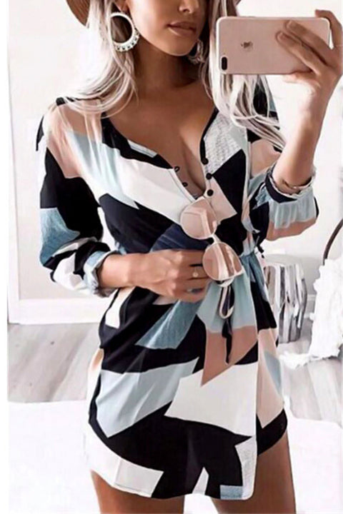 Venidress Fashion V Neck Geometric Printed Polyester Mini Dress