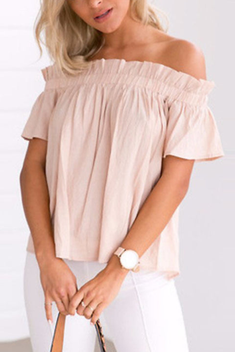 Venidress Tan Off Shoulder Puff Blouse