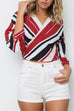 Venidress Chic V Neck Bandage Striped Printed Shirts
