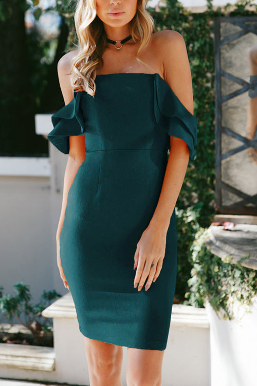 Venidress Sexy Bateau Neck Backless Falbala Design Green Blending Knee Length Dress