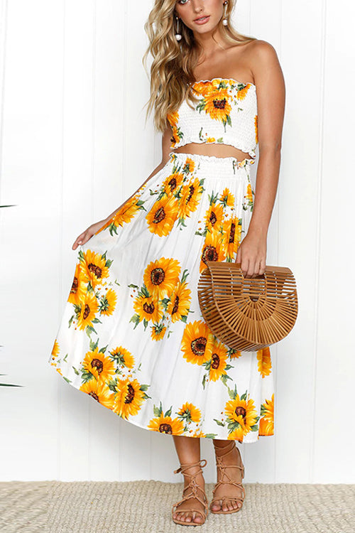 Venidress Embrace Lemon Or Sunflower Two-piece Skirt Set