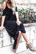 Venidress Casual U Neck Hollow-out Black Cotton Blend Floor Length Dress