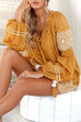 Venidress Bohemian V Neck Embroidered Yellow Cotton Blend Mini Dress
