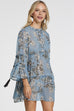 Venidress Bohemian Round Neck Leaf Printed Tassels Blue Rayon Mini Dress