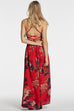 Venidress Bohemian V Neck Floral Printed Side Slit Red Rayon Ankle Length Dress