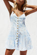 Venidress Trendy V Neck Leaf Printed Buttons Light Blue Cotton Blend Mini Dress