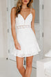 Venidress Charming Sleeveless Hollow-out White Cotton Blend Mini Dress