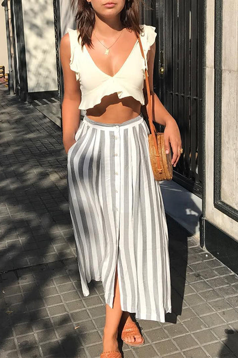 Venidress V Neck Ruffle Striped White Two-piece Skirt Set