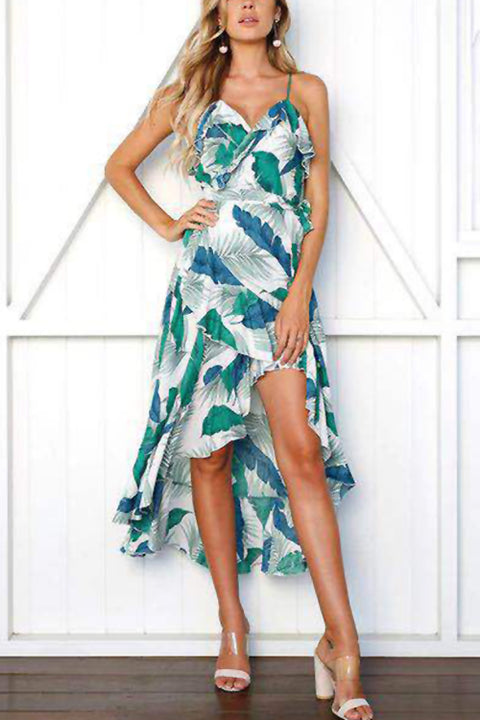 Venidress  V Neck Leaf Printed  Ankle Length Dress