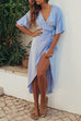 VenidressCasual V Neck Asymmetrical Blue Blending Knee Length Dress