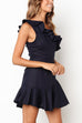 Venidress Fashion Show A Shoulder Flounce Irregular Dark Blue Blending Mini Dress