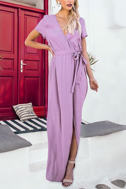 Venidress Fashion V Neck Purple Floor Length Dress