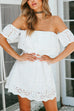 Venidress Bohemian Bateau Neck Hollow-out White Rayon Mini Dress