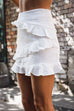 Venidress Trendy Falbala Design White Cotton Blends Sheath Mini Skirts