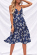 Venidress Retro V Neck Non Positioning Floral Printed  Mid Calf Dress