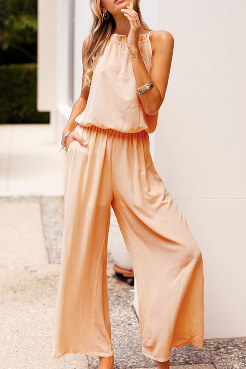 Venidress Round Neck Apricot  Jumpsuits