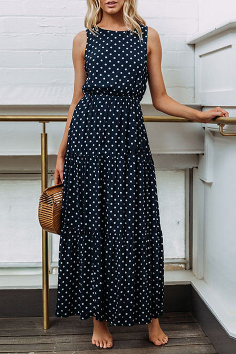 Venidress Polka Dots Navy Blue Ankle Length Dress
