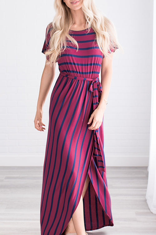Venidress Casual Striped Red Cotton Blends Ankle Length A Line Dress