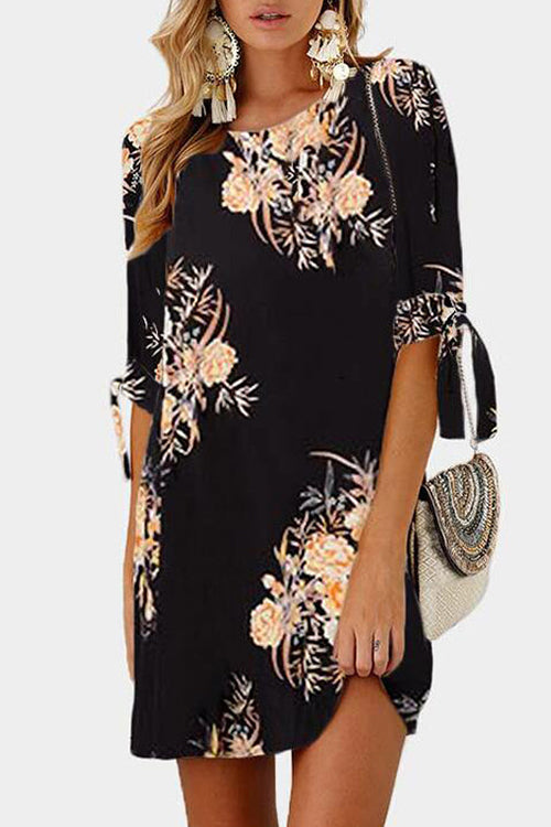 Venidress Round Neck Printed Knot Dress