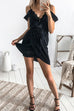 Venidress V Neck Dew Shoulder Patchwork Mini Dress