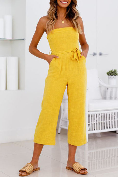 Venidress Competent Dew Shoulder Yellow Jumpsuits
