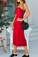 Venidress Trendy Short Sleeves Red Cotton Blends Sheath Mini Dress