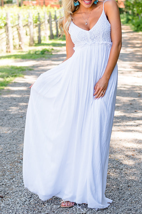Venidress Backless White Floor Length Dress